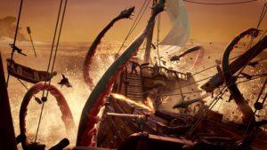 Des créatures telles que le kraken arpentent cette mer de voleurs.