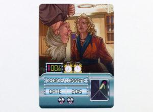 Anatomie d'une carte. En plus des personnages représentés, la carte indique la charge du Flux Capacitor, le prix en unités de temps (les horloges) et le nombre de points de victoire.